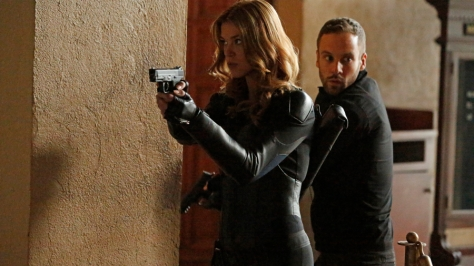 "MARVEL'S AGENTS OF S.H.I.E.L.D. - ""What They Become"" - Coulson and Whitehall's forces meet in an explosive confrontation that dramatically alters everyone's fates. Meanwhile, Skye discovers shocking secrets about her past, on the Winter finale of ""Marvel's Agents of S.H.I.E.L.D.,"" TUESDAY, DECEMBER 9 (9:00-10:00 p.m., ET) on the ABC Television Network. (ABC/Kelsey McNeal) ADRIANNE PALICKI, NICK BLOOD"